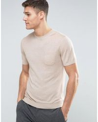 Mango - Man Knitted T-shirt In Beige - Lyst