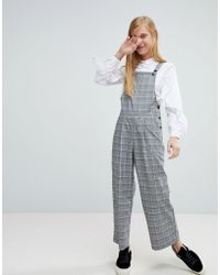 Monki - Check Tailored Dungarees - Lyst
