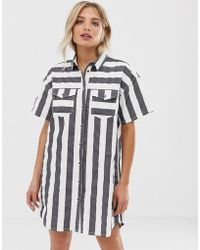 fed3ba29d75 Dr. Denim - Button Through Stripe Shirt Dress - Lyst