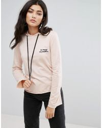 Daisy Street - Cropped Lightweight Hoodie With Mo Money Mo Problems Embroidery - Lyst