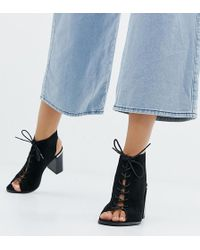 ASOS - Wide Fit Truly Lace Up Block Heeled Sandals - Lyst