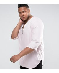 ASOS - Plus Regular Fit Longline Viscose Shirt In Pink With V Neck - Lyst