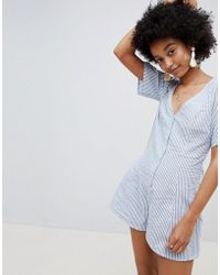 ced46e0f3d6 ASOS - Swing Playsuit With Button Front In Stripe - Lyst