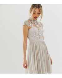 Chi Chi London Mini Prom Dress With Lace Collar In Grey - Gray