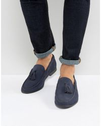 Frank Wright - Tassel Loafers In Navy Suede - Lyst