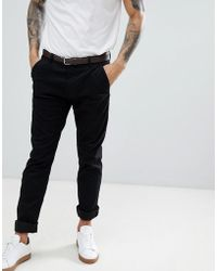 Stradivarius - Slim Chino In Black - Lyst