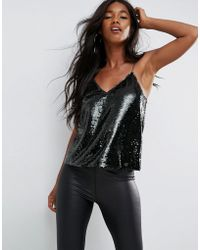 ASOS - Sequin Cami With V Neck - Lyst