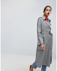 ASOS - Checked Mac With Contrast Piping - Lyst