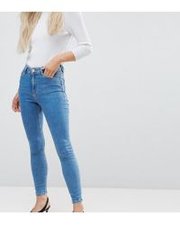ASOS - Asos Design Petite Ridley High Waist Skinny Jeans In Lily Wash - Lyst