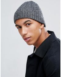 1bc90333d08 Lyst - Asos Lambswool Blend Cable Fisherman Beanie In Denim in Blue ...