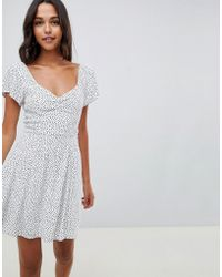 Abercrombie & Fitch - Tea Dress With Wrap Detail In Ditsy Spot - Lyst