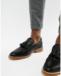 ASOS - Loafers In Black Leather With Natural Sole And Fringe Detail - Lyst