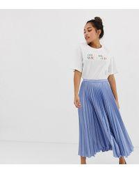 ASOS - Petite Satin Pleated Midi Skirt - Lyst