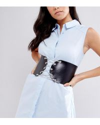 Retro Luxe London - Retro Luxe Chain Lace Up Leather Corset Belt - Lyst
