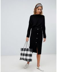 Stradivarius - Ribbed And Button Detail Skirt Co Ord - Lyst
