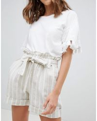 Mango - Stripe Tie Wasist Turn Up Shorts - Lyst