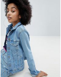 Bershka - Minimal Denim Jacket In Light Blue - Lyst