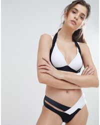9a4da23bf1 Lyst - Missguided Black Floral Print Double Crossover Strap Bikini ...