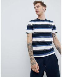 Original Penguin - Varied Multi Stripe T-shirt Small Logo In Navy/white - Lyst