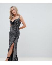 Missguided - Vestito lungo nero in paillettes con scollo ad anello e spacco  laterale - Lyst 001b2d50465