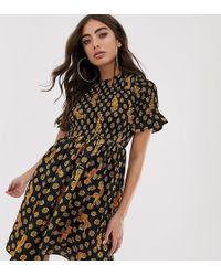 Never Fully Dressed Shirred Mini Skater Dress In Tiger Print - Multicolour