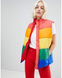 Daisy Street - Padded Gilet In Rainbow Stripe - Lyst