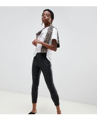 River Island - Faux Leather High Rise Leggings - Lyst