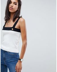 176760f5 ASOS - Ribbed Tank With Gold Button Detail - Lyst