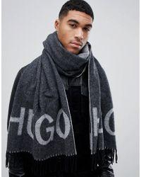HUGO - Large Logo Wool Mix Scarf In Grey - Lyst