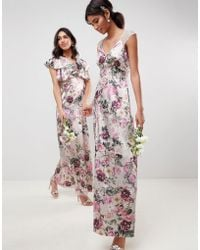 e6007f8c7d6 Lyst - Asos Wedding Maxi Dress With Frill Detail In Pretty Floral Print