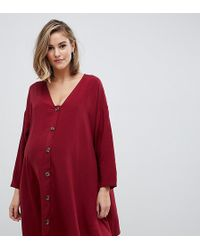 ASOS - Asos Design Maternity Button Through Mini Dress With Long Sleeves - Lyst