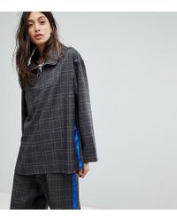 Reclaimed (vintage) - Inspired Check Top With Side Stripe - Lyst