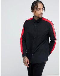 ASOS - Regular Fit Shirt With Tape Detail In Black - Lyst