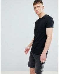 Esprit - Longline Muscle Fit T-shirt In Black With Curved Hem - Lyst
