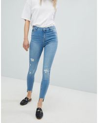 Urban Bliss - Distressed Ripped Skinny Jean In Light Wash - Lyst