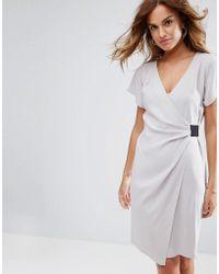 ASOS - Asos Drape Front Midi Pencil Dress With Elastic Detail - Lyst