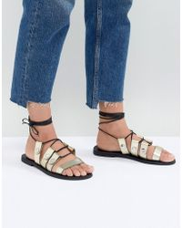 Sol Sana - Divison Gold Sandals - Lyst