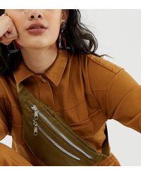 Monki - Zipped Belt Bag In Khaki - Lyst
