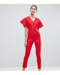 New Look - Flutter Sleeve Jumpsuit In Red - Lyst