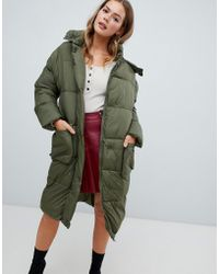 Missguided - Longline Padded Jacket In Khaki - Lyst
