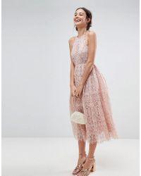 ASOS - Asos Lace Pinny Scallop Edge Midi Prom Dress - Lyst