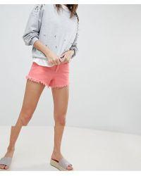 Vero Moda - Distressed Frayed Denim Shorts - Lyst