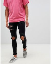 Mennace - Super Skinny Jeans In Black With Distressing - Lyst