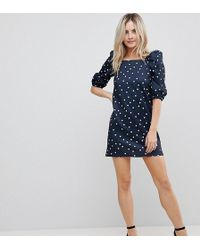 ASOS - Square Neck Polka Dot Mini Dress - Lyst