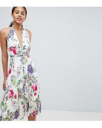 John Zack - Allover Printed Halterneck Midi Dress - Lyst