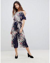Oasis | Floral Cold Shoulder Jumpsuit | Lyst