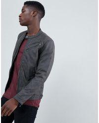Esprit - Faux Leather Biker Jacket With Double Zip - Lyst
