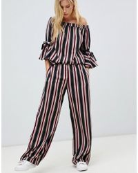 Vila - Stripe Co-ord Trousers - Lyst