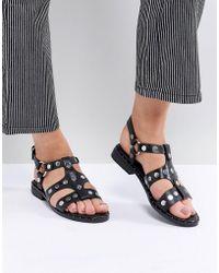Sol Sana - Gunther Black Studded Sandals - Lyst