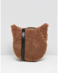 Monki - Faux Fur Cross Body Cat Bag In Brown - Lyst
